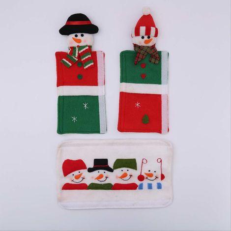 Poignée de porte de four à micro-ondes de Noël, poignée de porte double antistatique, longue housse de protection en tissu anti-collision, gant de réfrigérateur de bonhomme de neige