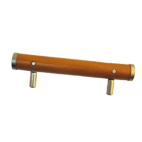 Poignée de porte et tiroir de meuble de cuisine design en métal et bois entraxe 96 mm, COUTEAU
