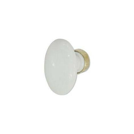Poignée ovale en porcelaine blanche carré 6 mm