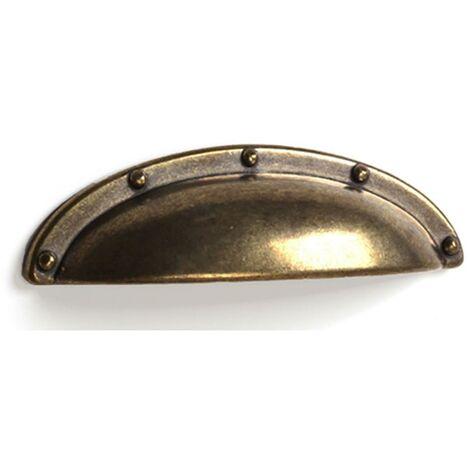 Poignée-shell en zamak avec finition en cuir, dimensions: 92x26x20mm, inserts: 64mm