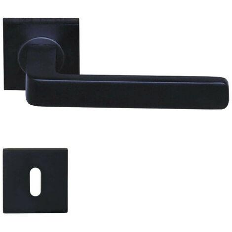 Poignées de porte modèle Soho avec rosaces carrées à clé - aluminium  anodisé noir x2