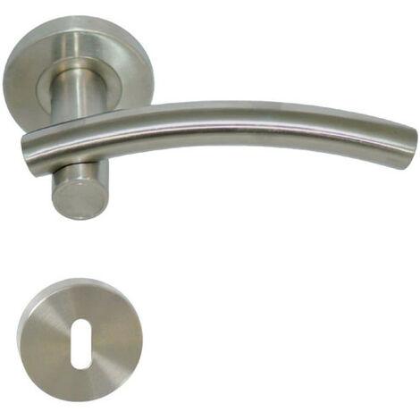 Poignées modèle Leognan avec rosaces rondes à clé - inox 304 brossé mat x2