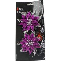 Poinsettia Tree Decoration Purple Pack of 2