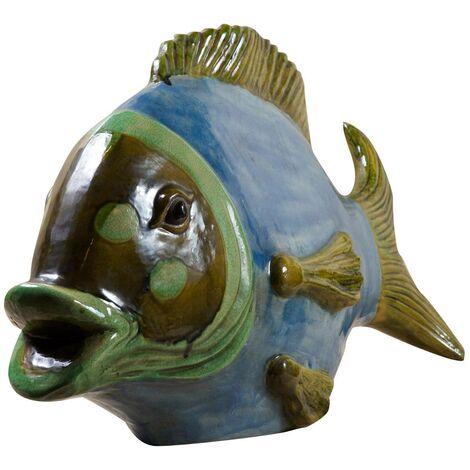 Poisson en céramique décoré à la main L75xPR25xH45 cm