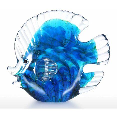 Poisson tropical bleu sculpture en verre decoration de la maison poisson en verre