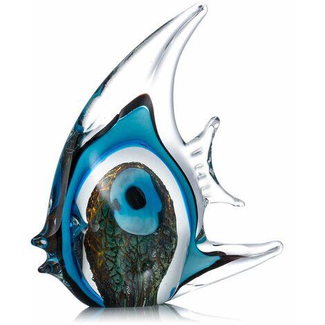 Poisson tropical raye bleu Tooarts Sculpture en verre Decoration de la maison Poisson en verre