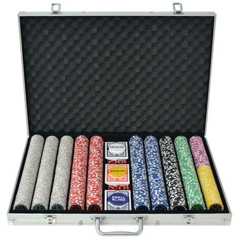 Poker Set with 1000 Laser Chips Aluminium - Multicolour