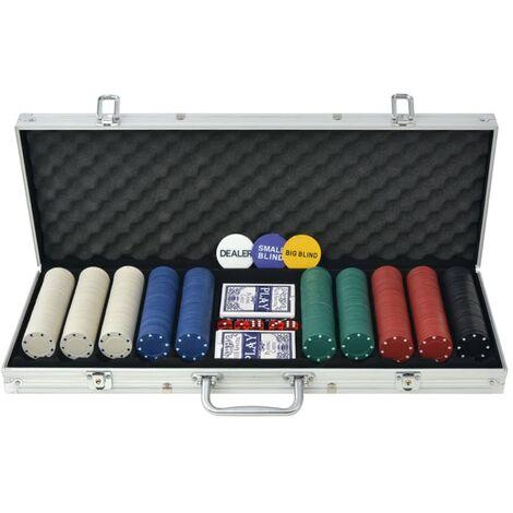 Poker Set with 500 Chips Aluminium - Multicolour