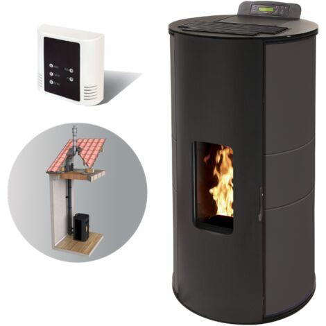 Po�le � granules MARINA 6 KW Etanche - Noir option t�l�commande, aspirateur 20 L et Pellet'Box r�servoir 45 kg