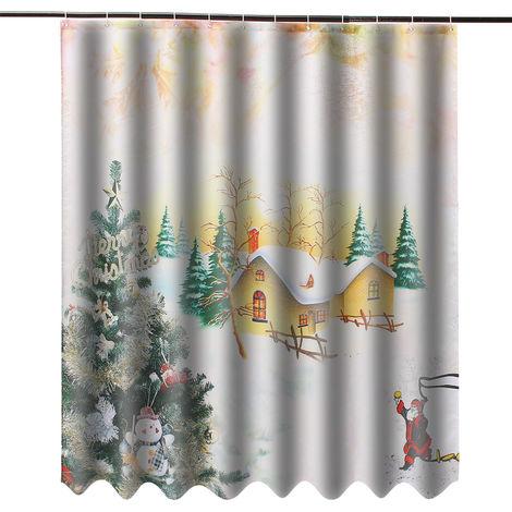 Poliéster de la cortina de ducha de la prenda impermeable de la Navidad del tema 3D con el gancho 12 para el hogar Hasaki