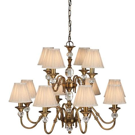 Polina Antique Brass 12Lt Ceiling Pendant Light & Beige Shades 40W