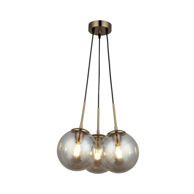 Homemania - Polino Haengelampe - Kronleuchter - Deckenkronleuchter - Schwarz, Gold aus Metall, Glas, 40 x 40 x 120 cm, 3 x E27, 40W