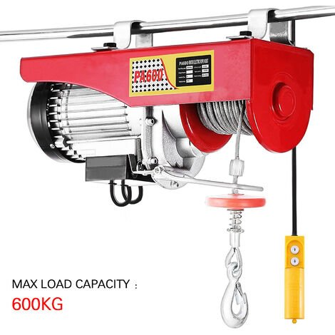 Polipasto Electrico Elevador Eléctrico 1050W 600kg para Garage y Levantar Herramientos Pesados