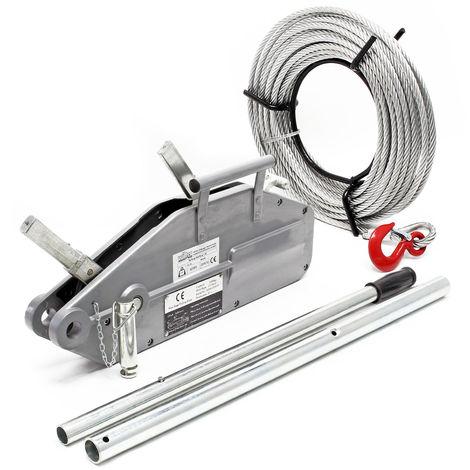 Polipasto hasta 1600kg, cable 20m Ø11mm, pasador de seguridad y gancho de carga, traccionar y elevar