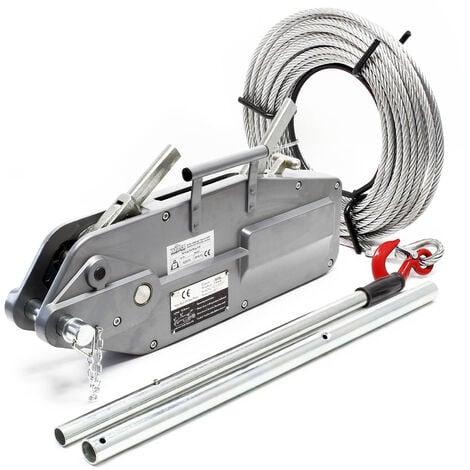 Polipasto hasta 3200kg, cable 20m Ø16mm, pasador de seguridad y gancho de carga, traccionar y elevar