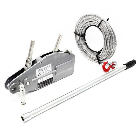 Polipasto hasta 800kg, cable 20m Ø8,3mm, pasador de seguridad y gancho de carga, traccionar y elevar