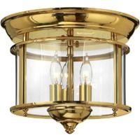 Polished Brass Flush Mount - 3 x 40W E14 by Happy Homewares