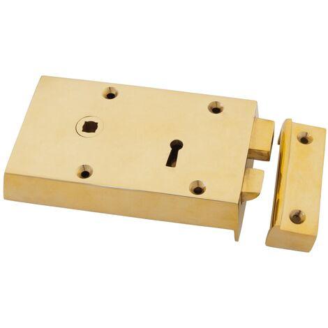 Polished Brass Left Hand Rim Lock - Small