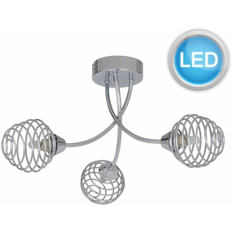 Polished Chrome 3 Light Fitting with Metal Spiral Shades with LED Bulbs