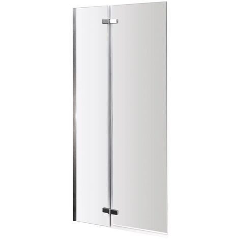 """main image of """"Polished Chrome 745mm Centre Hinged Square Corner Bath Shower Screen"""""""