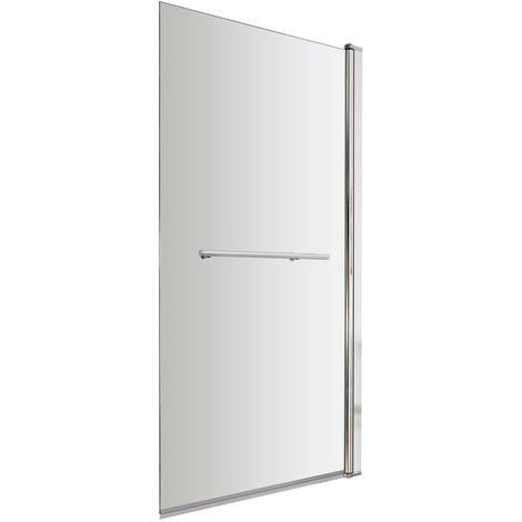 """main image of """"Polished Chrome 770mm Single Section Square Corner Bath Shower Screen with Towel Rail"""""""