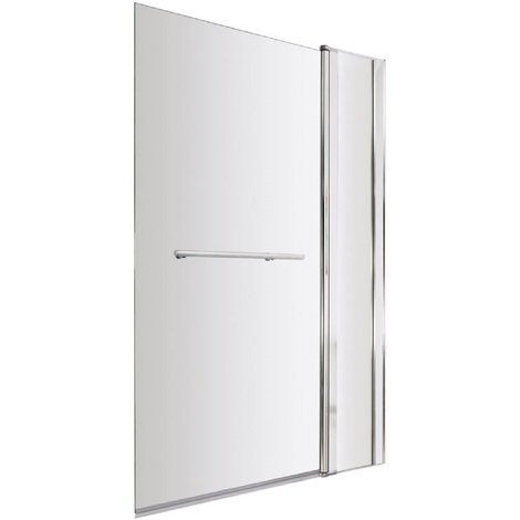 """main image of """"Polished Chrome 985mm Extended Square Corner Bath Shower Screen with Towel Rail"""""""