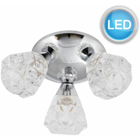 Polished Chrome Flush Fitting with Crystal Effect Glass Shades with LED Bulbs