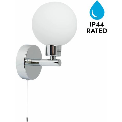 Polished Chrome & Glass Globe IP44 Bathroom Wall Light With Pull Cord Switch