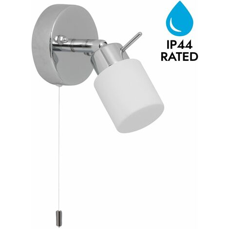 Polished Chrome & Glass IP44 Bathroom Wall Light Pull Cord Switch