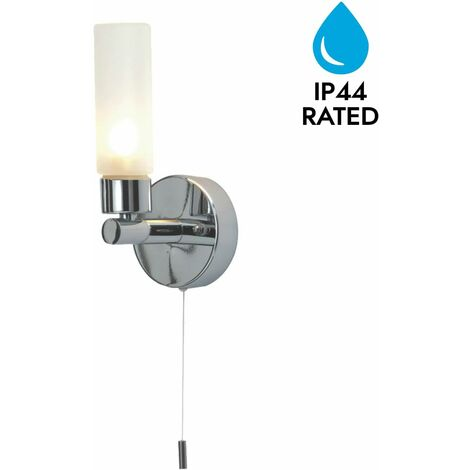 """main image of """"Polished Chrome & Glass IP44 Bathroom Wall Light With Pull Cord Switch"""""""