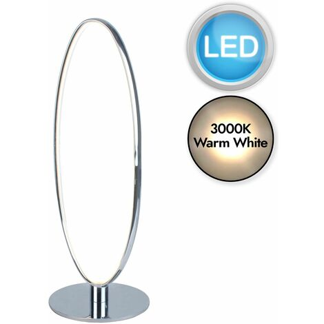 Polished Chrome LED Oval Table Lamp