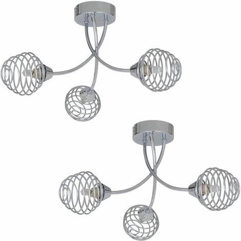 Polished Chrome & Metal Spiral 3 Arm Semi Flush Ceiling Light Fitting Chandelier