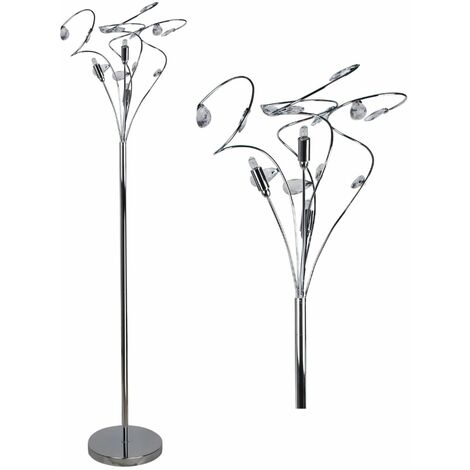 Polished Chrome Swirl Floor Light Standard Lamp With Acrylic Crystal Jewels