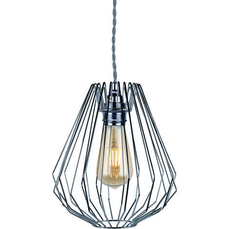 Polished Plated Wire Geometric Ceiling Light Fitting
