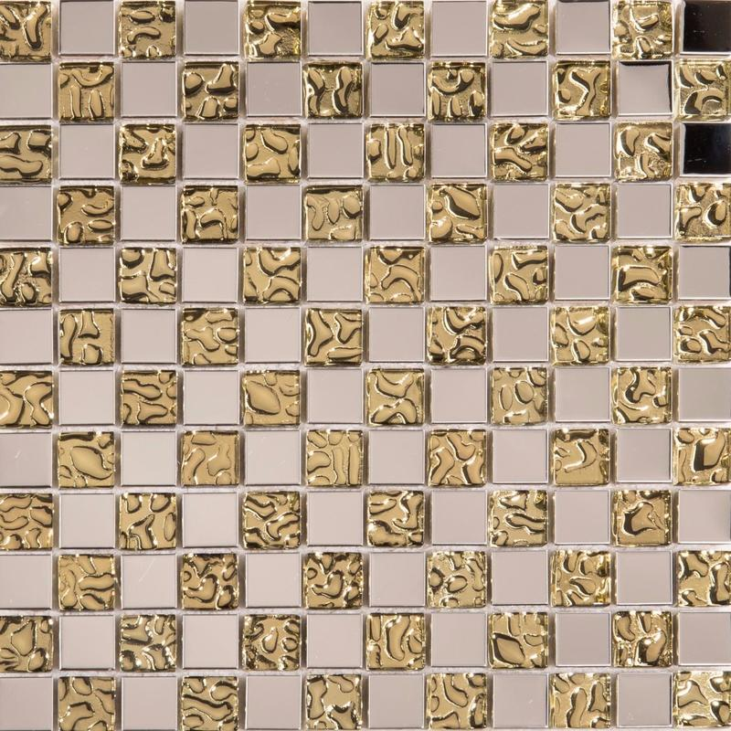Image of Polished Stainless Steel and Patterned Gold Glass Mosaic Tile SQM (MT0157)