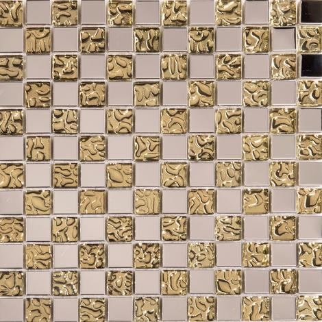 Polished Stainless Steel and Patterned Gold Glass Mosaic Tile Sheet MT0157