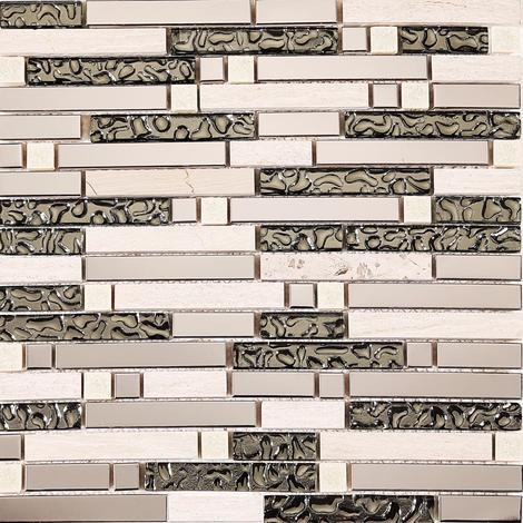 Polished Steel, Natural Stone and Silver Glass Brick Shape Mosaic Tile Sheet MT0146