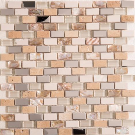 Polished Steel, Stone & Glass Mosaic Wall Tile Sheet MT0145