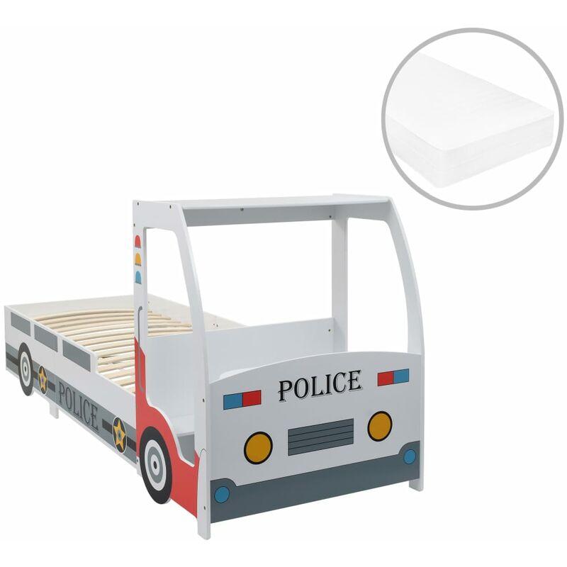 Polizeiauto-Kinderbett mit Matratze 90x200 cm 7 Zone H2 - VIDAXL