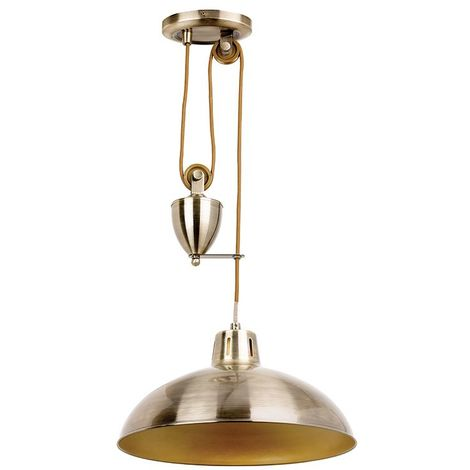 Polka rise & fall pendant light 60W antique brass plate