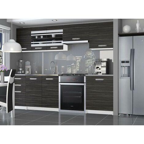 POLLEY   Cuisine Complète Modulaire Linéaire L 240/180 cm 7 pcs   Plan de travail INCLUS   Ensemble de meubles de cuisine   Ébène