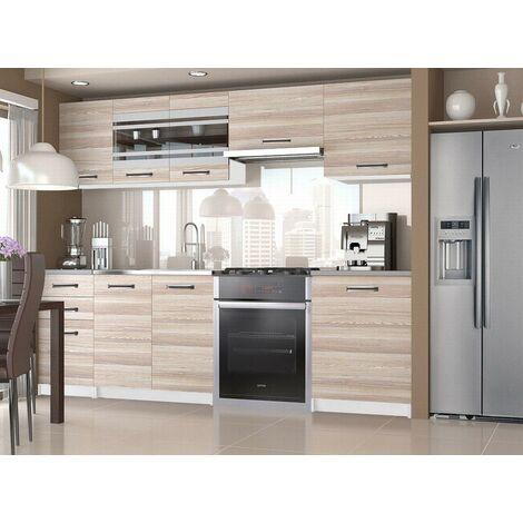 POLLEY | Cuisine Complète Modulaire Linéaire L 240/180cm 7 pcs | Plan de travail INCLUS | Ensemble meubles de cuisine | Acacia - Acacia