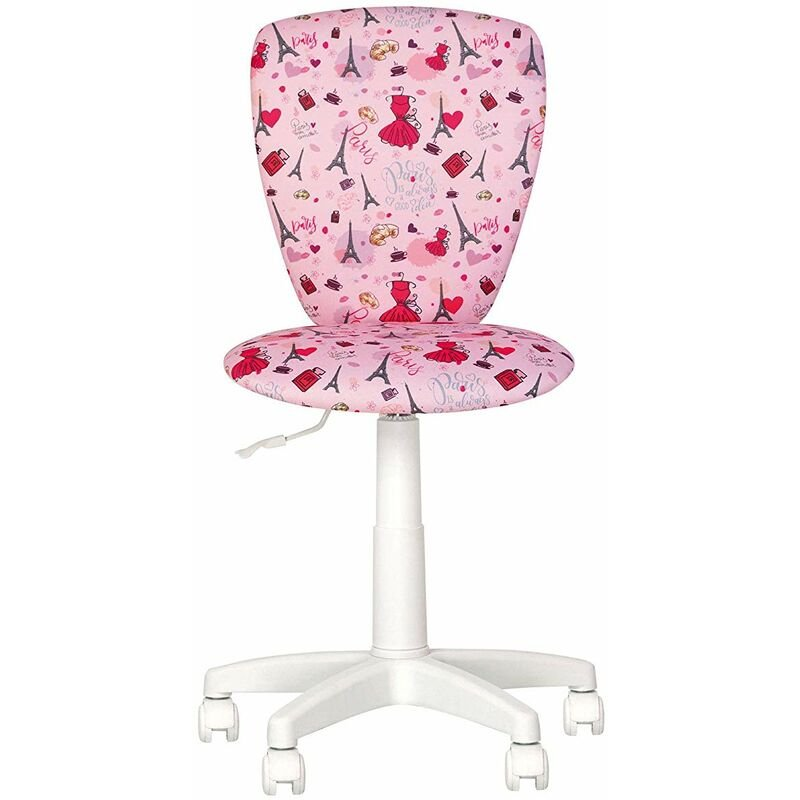 Polly Paris Fauteuil Chaise De Bureau Pour Enfant Dossier Non Reglable Pivotant Rose Blanc Rose 004040pwscm4