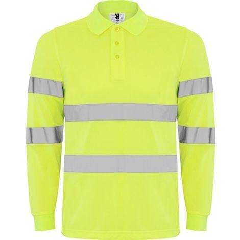 adfe4ebc561 Polo amarillo manga larga de alta visibilidad. Cintas reflectantes en cuerpo  y mangas.