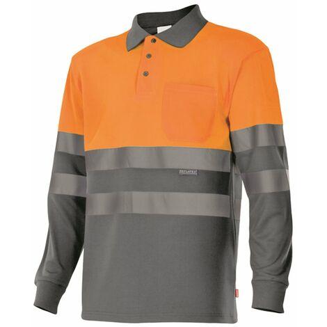 Polo bicolor manga larga alta visibilidad