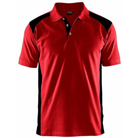 Polo Blaklader maille piqué Homme Rouge Epaules Noires