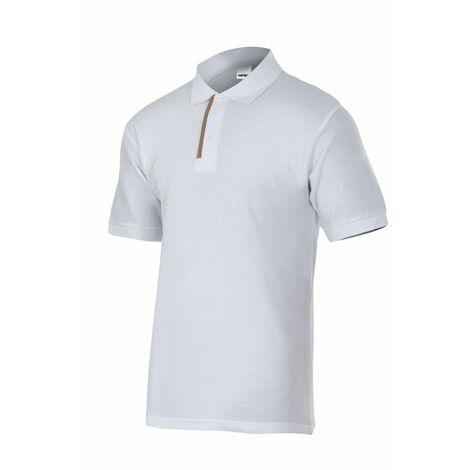 Polo blanco/gris de manga corta bicolor Serie P105502