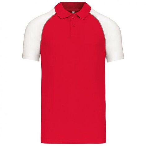 "main image of ""Polo de travail Baseball manches courtes Kariban Rouge / Blanc 3XL"""