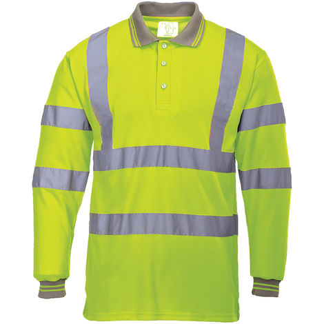 Polo haute visibilité Jaune pour Unisexe Polyester taille XL EN20471 manches longues