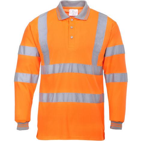 Polo haute visibilité Orange pour Unisexe Polyester taille L EN20471 manches longues